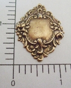 13473 - 12 Pc Ornate Floral Framed Tag Jewelry Finding Brass Ox