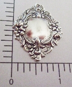 13474 - 12 Pc Ornate Floral Framed Tag Matte Silver Ox