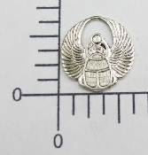 12 Pc Sm. Round Wings Charm Finding Silver Ox