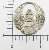 19544 - 12 Pc Large Round Wings Matte Silver O