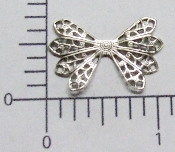 12 Pc Dapped Wing Shape Filigree Matte Silver Ox