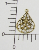 (Package of 12) Filigree Teardrop Dangle (Brass Ox)