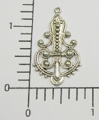 (Package of 12) Filigree Dangle (Matte Silver Ox)