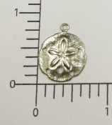 "12 Pc 7/8"" Sand Dollar Charm Finding Silver Ox"