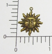 Small Sun Charm Finding Stamping Brass Ox (Package of 12)