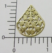 (Package of 12) Filigree Teardrop (Brass Ox)