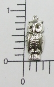 (Package of 12) Small Owl Charm (Matte Silver)
