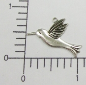 (Package of 12) Hummingbird Charm (Matte Silver)
