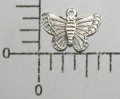 Small Butterfly Charm (Matte Silver) (Package Of 12)