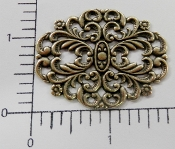 "(Package of 12) 1-3/4"" x 1-3/8"" Ornate Filigree (Brass Oxidized)"