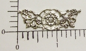 "12 Pc 1-5/8"" x 1/2"" Floral Filigree Matte Silver Ox"