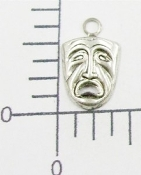 Tragedy Mask Charm - Matte Silver Ox / 1 dozen