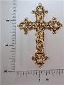 12 Pc Large Cross Pendant - Brass Ox