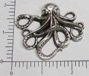 12 Pc Octopus Large Brass Finding Matte Silver Ox