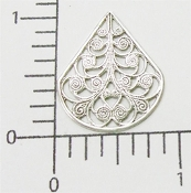 Filigree Angel Skirt, Matte Silver Ox Brass Finding (pkg of 12)