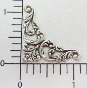 23644 -4 Pc Victorian Corner Jewelry Finding Stamping Silver Ox