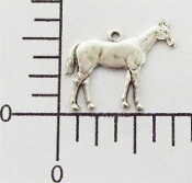 12 Pc Small Horse Charm Jewelry Finding w/ Ring, Silver Ox