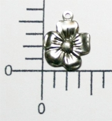 Small Victorian Flower Charm w/Ring Matte Silve Ox (pkg of 12)