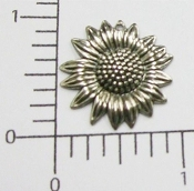 Flower Jewelry Finding Charm w/hole, Matte Silver Ox (pkg of 12)