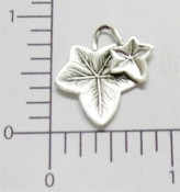 Victorian Ivy Leaves Jewelry Finding Matte Silver Ox (pkg of 12)