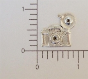 Vintage Camera Charm Jewelry Finding w/Ring Matte Silver Ox (12)