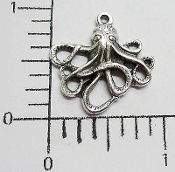 12 Pc Small Octopus W/Ring Jewelry Pewter/Casting Silver Ox
