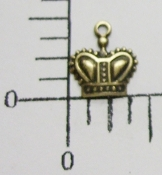 Small Crown Charm w/Ring Brass Ox (Package of 12)