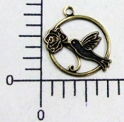 Hummingbird in Round Charm Brass Ox (Pakage of 12)