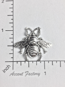 "12 Pc 1-1/4"" Large Bee Matte SILVER Ox"