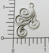 1 Pc Silver Oxidized Dangle Swirl Angel Wing Jewelry Finding