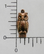 35755- 12 Pc Small Owl Charm Brass Jewelry Finding COPPER Ox