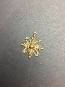 5 Pc Victorian Snow Flake Charm w/Loop Brass Ox - LIMITED QTY's