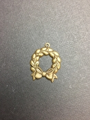 5 Pc Holiday Wreath Charm w/ Loop Brass Ox - LIMITED Qty's