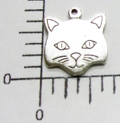 12 Pc Cat Head Charm w/ Loop Matte Silver Ox