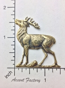 43613 - 1 Pc Large Standing Deer Buck Jewelry Finding Brass Ox