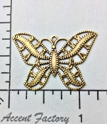 12 Pc Large Filigree Butterfly Jewelry Finding Charm Brass Ox