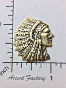 39213 - 1 Pc American Indian Head Pendant Charm BRASS Ox