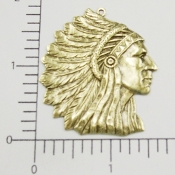 39223 - 12 Pc Large American Indian Head Pendant Brass Oxidized
