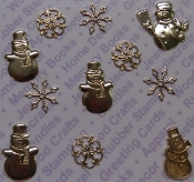 Gold Plated Asstd Snowflakes & Snowmen Findings x 1 Blister Pack
