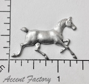 40194 - 2 Pc Running Horse Jewelry Finding Matte Silver Ox
