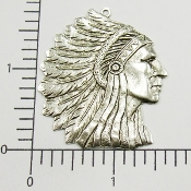 39224 - 12 Pc Large American Indian Head Pendant Silver Ox