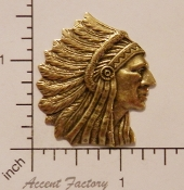 39173- 12 Pc American Indian Head Charm Jewelry Finding Brass Ox