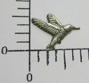 36374 - 12 Pc Vict. Hummingbird Jewelry Finding Matte Silver Ox