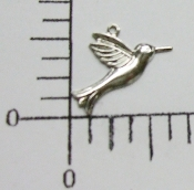 (Package of 12) Hummingbird Charm (Matte Silver Ox)