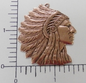 12 Pc Large American Indian Head Pendant (Copper Ox)