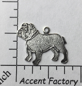 40764 - 3 Pc Bulldog Charm Jewelry Finding Matte Silver Ox
