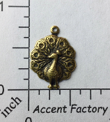 36253 - 12 Pc Small Peacock Charm Jewelry Finding Brass Ox