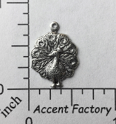 36254 - 12 Pc Small Peacock Charm Jewelry Finding Silver Ox