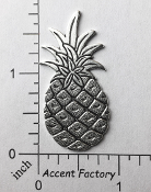 33594 - 12 Pc Large Tropical Pineapple NR Matte Silver Ox