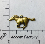40043 - 12 Pc Running Horse Charm Jewelry Finding Brass Ox